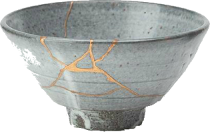 In Japan, when a vase or pottery is cracked, there is a process which binds the broken pieces together again. It is called Kintsugi:   Kintsugi (金継ぎ?) (Japanese: golden joinery) or Kintsukuroi (金繕い?) (Japanese: golden repair) is the Japanese art of fixing broken pottery with lacquer resin dusted or mixed with powdered gold, silver, or platinum a method similar to the maki-e technique.[1][2][3] As a philosophy it speaks to breakage and repair becoming part of the history of an object, rather than something to disguise.
